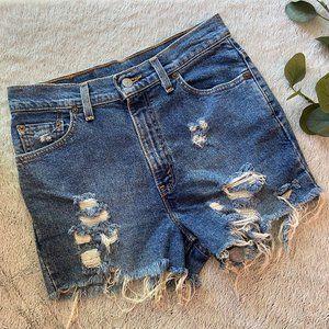 Levis Cut Off Medium Wash Distressed Jean Shorts